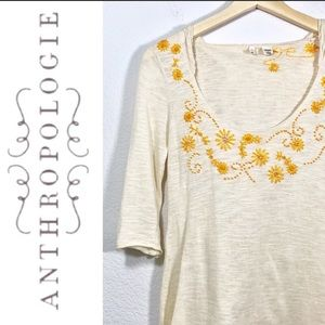 Anthropologie moth embroidered hoodie top S
